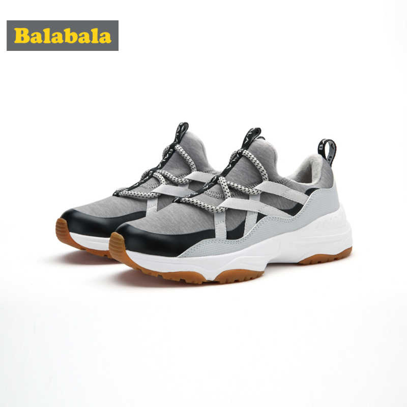 Balabala Boys Fleece-Lined Sneakers Slip On with Decorative Lacing Teenage Boy Running Sneakers with Pull Tab at Heel