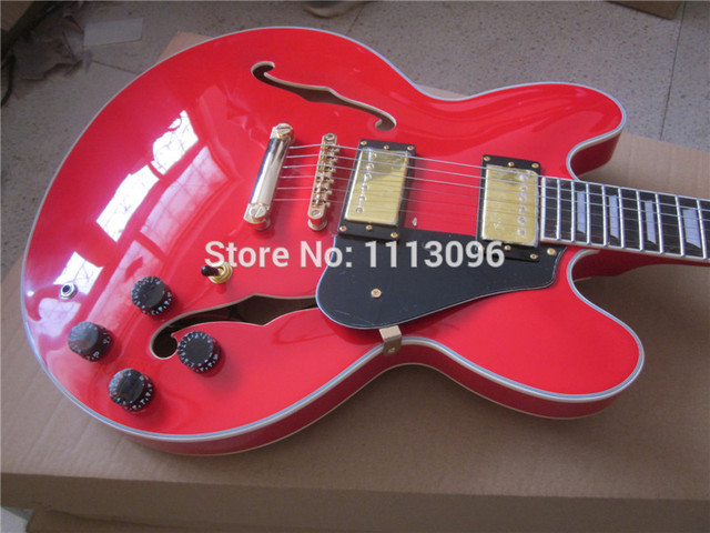 Cheap Electric guitar FREE SHIPPING electric guitar/hollow jazz guitar+red color