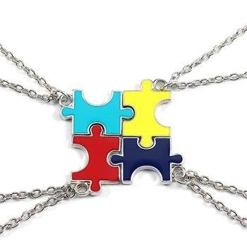 4 Pcs/Set Puzzles Pendant Necklaces Best Friend Forever  Best Friend Necklaces