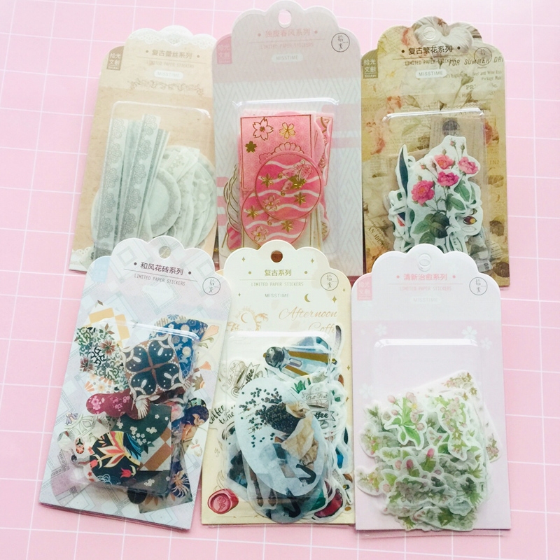 60 Sheets /Bag Blister Hot Stamping Vintage Lace Floral Japanese Washi Paper Decorative Stickers Label Sticker