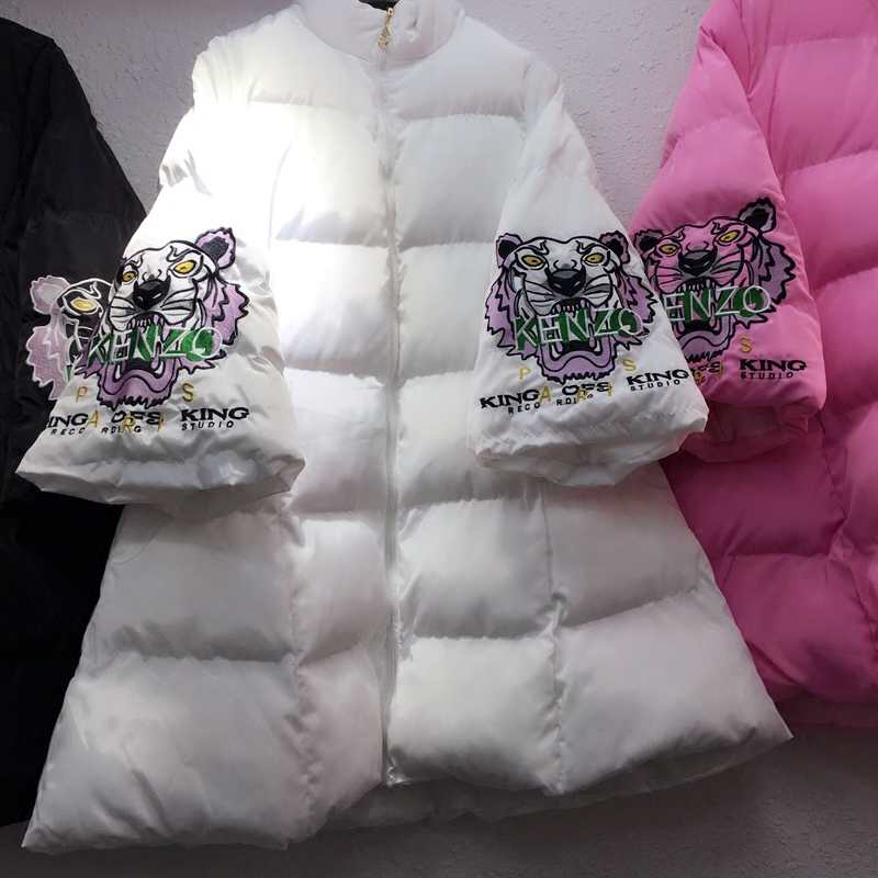 Woman Winter Down Cotton padded Jacket Three Quarter Sleeve Tiger Head Embroidery Thick Parkas Female Wadded