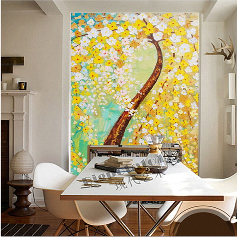 The latest 3D wallpaper,3D Abstract tree oil painting Flower papel de parede,TV wall living room sofa wall bedroom wallpaper large mural papel de parede european nostalgia abstract flower and bird wallpaper living room sofa tv wall bedroom 3d wallpaper