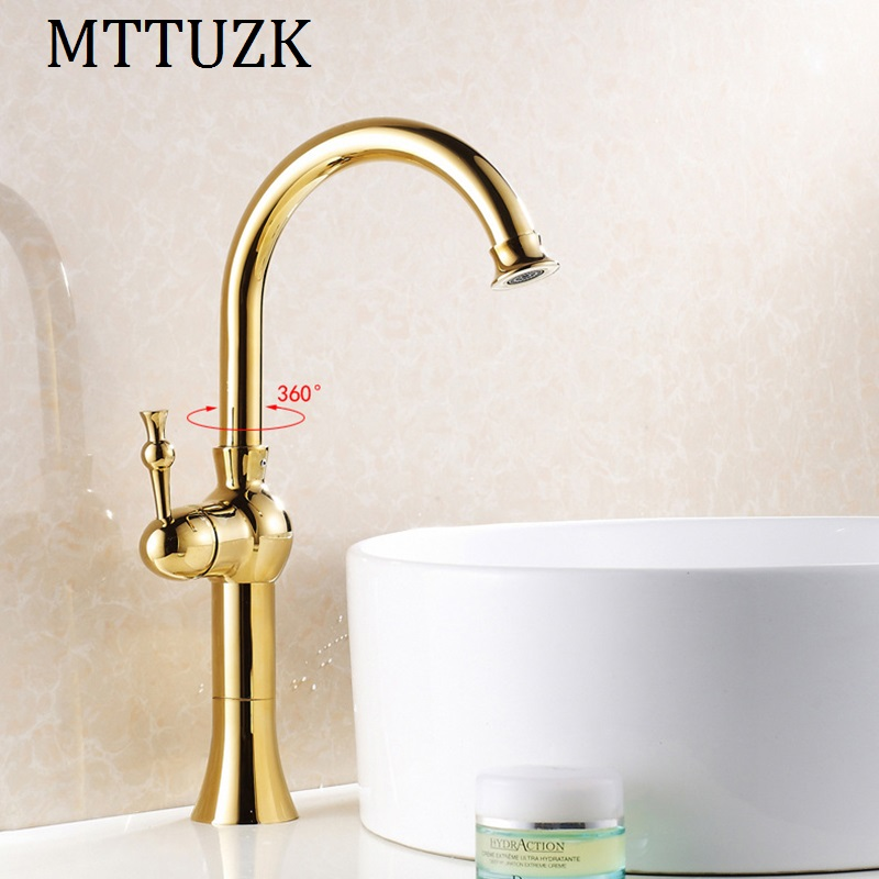 MTTUZK Kitchen & bathroom hot and cold water sink faucets golden brass deck mounted basin taps mixer washbasin faucet tap contemporary kitchen faucet hot and cold mixer water tap deck mounted rotate stainless steel basin sinks tap bathroom faucets