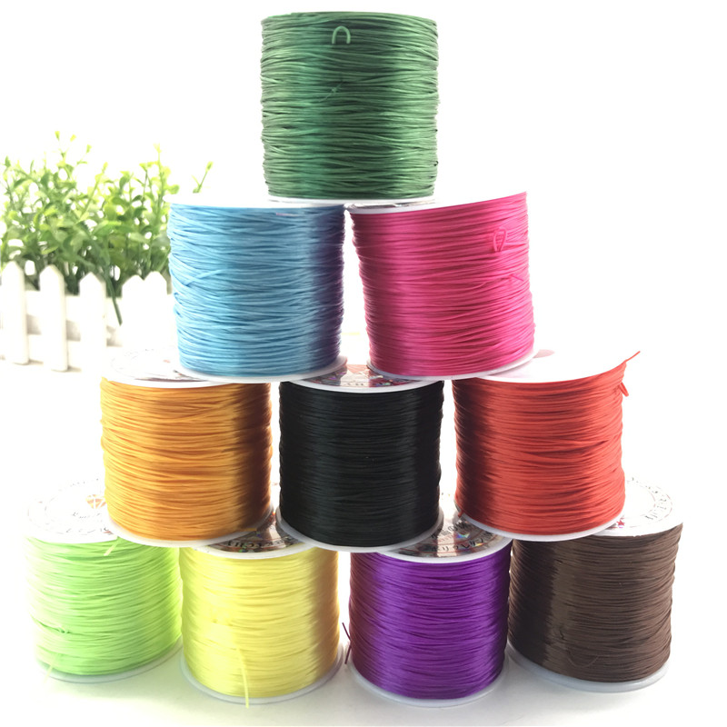 50M/Roll 0.8-1mm Color Flexible Elastic Crystal Line Rope Cord For Jewelry Making Beading Bracelet Rope