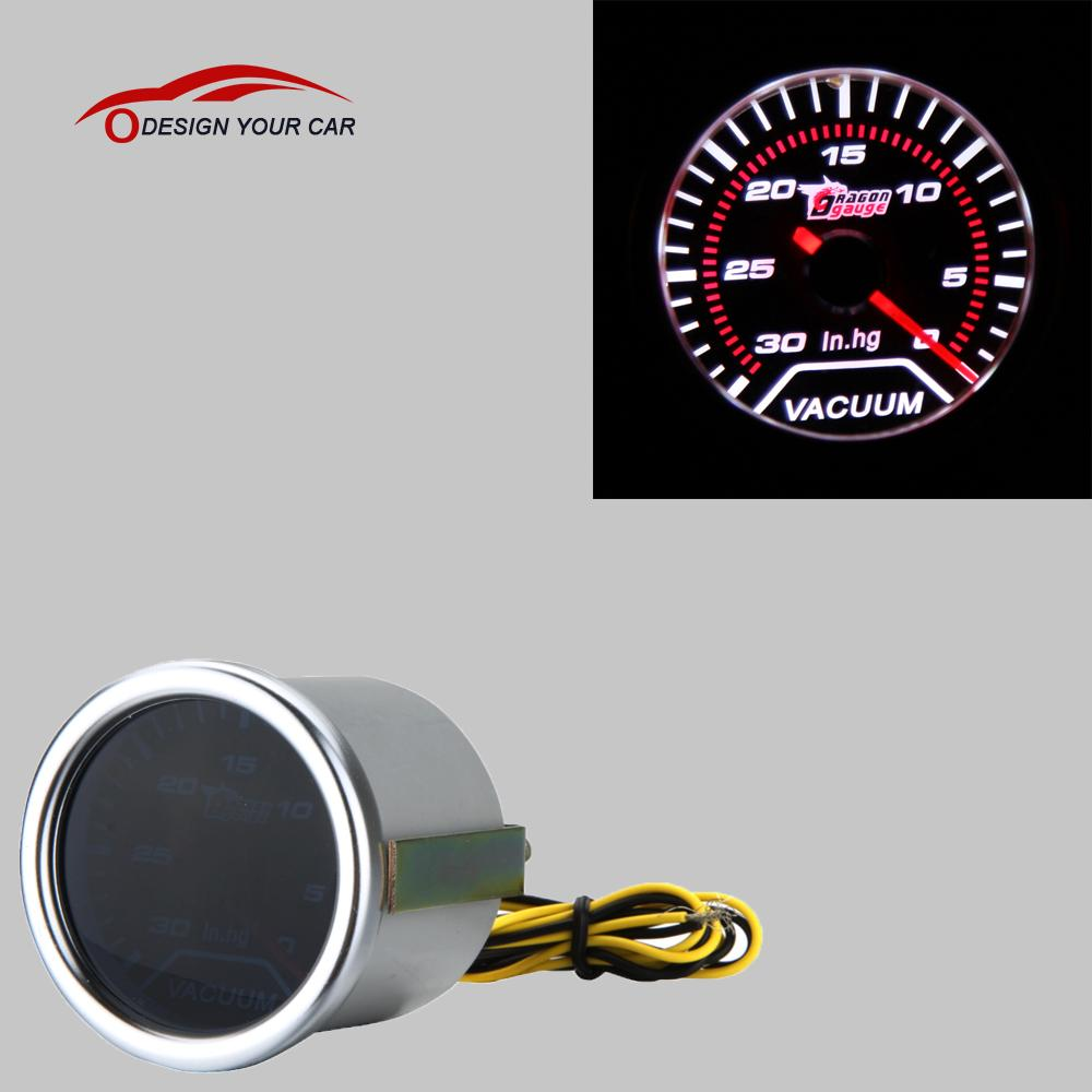 """Prix pour Fumée Motor Car Universal Len 2 """"52mm 30-0 DANS/HG Indicateur Jauge À Vide Blanc LED lumière"""