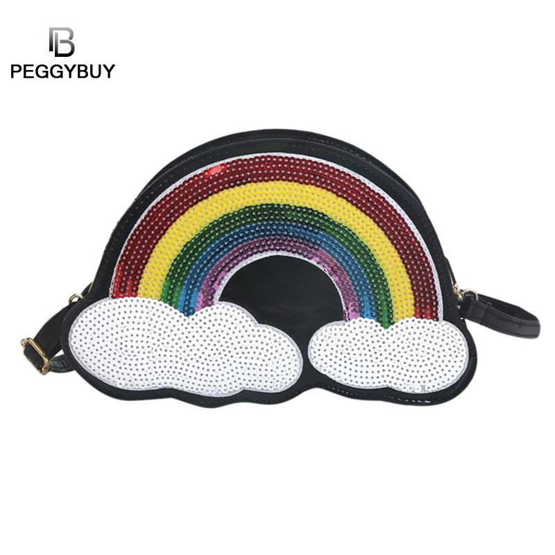 Personality Sequins Rainbow Crossbody Bag Cute Cloud Laser Women PU Leather Shoulder Bags Pouch Fashion Zipper Shell Messenger