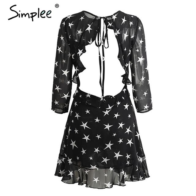 Simplee Hollow out boho beach summer dress woman 2017 lace up backless ruffle sexy dress Short chiffon star black dress vestidos