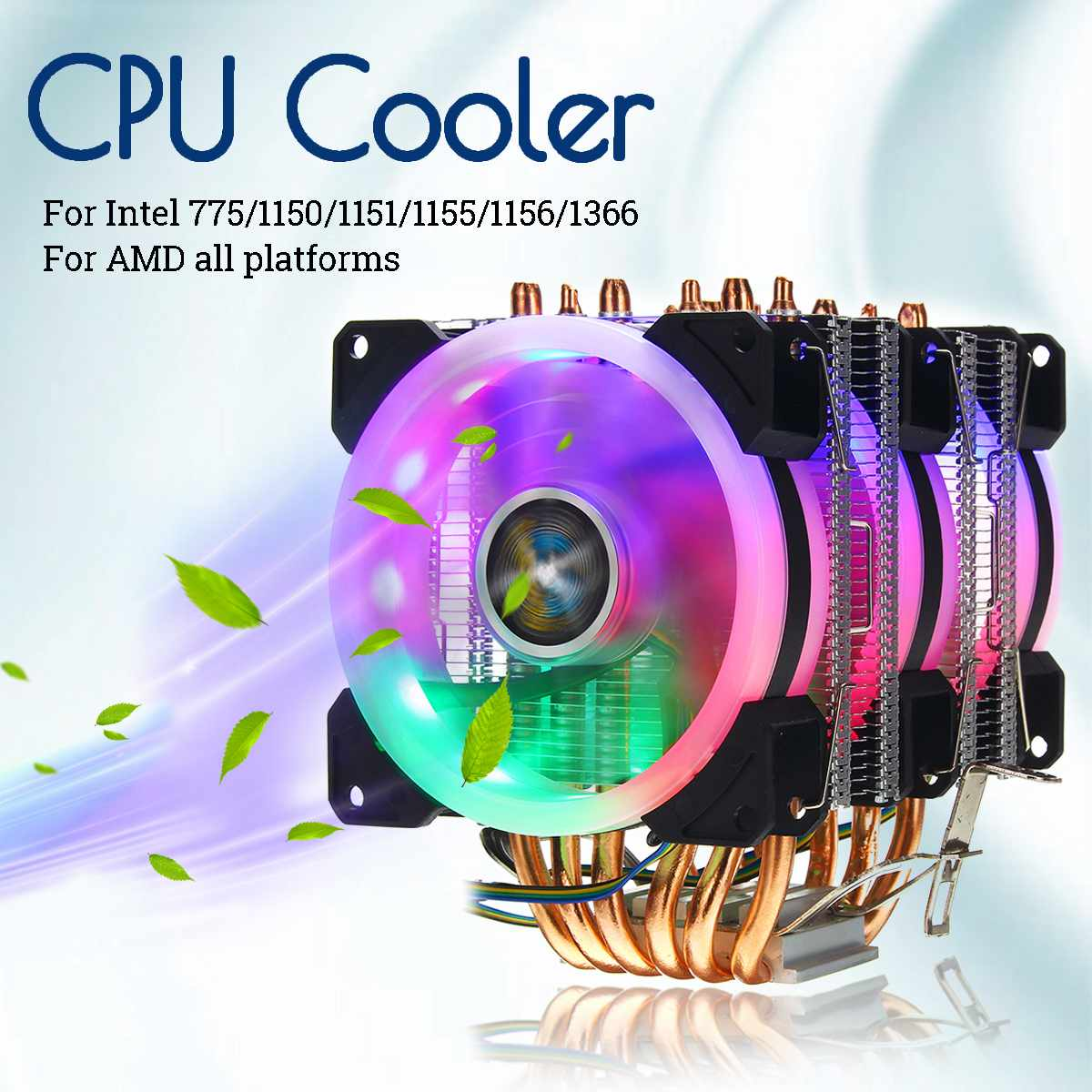 6 Heatpipe CPU Cooler RGB LED Fan Quiet 4pin CPU Fan Cooling Heatsink CPU Cooling for Intel 775/1150/1151/1155/1156/1366 for AMD6 Heatpipe CPU Cooler RGB LED Fan Quiet 4pin CPU Fan Cooling Heatsink CPU Cooling for Intel 775/1150/1151/1155/1156/1366 for AMD