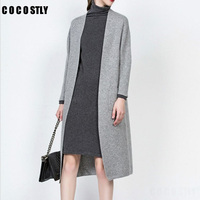 autumn womens cashmere cardigans winter Cashmere sweaters grey Long Cardigan women Casual Warm Female long coat