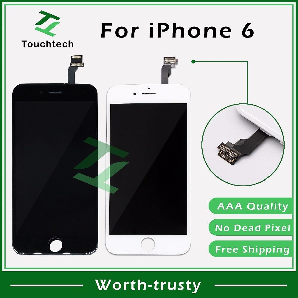 """imágenes para 10 UNIDS/LOTE 4.7 """"blanco y Negro iPhone 6 LCD para iPhone 6 Reemplazo de la Pantalla Táctil con Digitalizador Asamblea Pantalla LCD Sin Píxeles Muertos"""