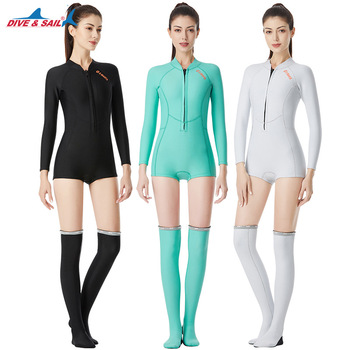 DIVE&SAIL New Women 1.5MM Bikini Wetsuit Anti-UV Long Sleeve Swimwear Diving Suit Swimming Suit Surfing Snorkeling Stockings