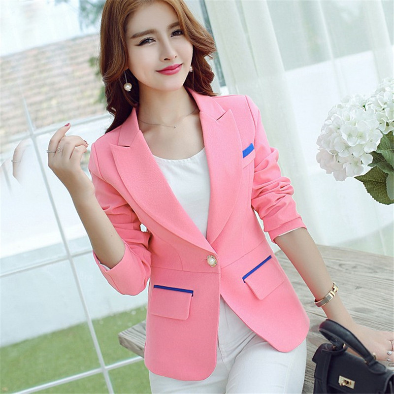 2015 pink yellow long sleeve one button suit blazer women fashion feminino blazers jackets - Dream store