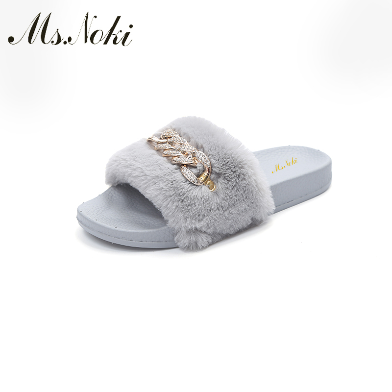 Ms Noki Women Fur Slippers Fashion Flip Flops Sandals Plush Warm Home Slippers Metal Summer Comfortable Woman Flats Beach Shoes