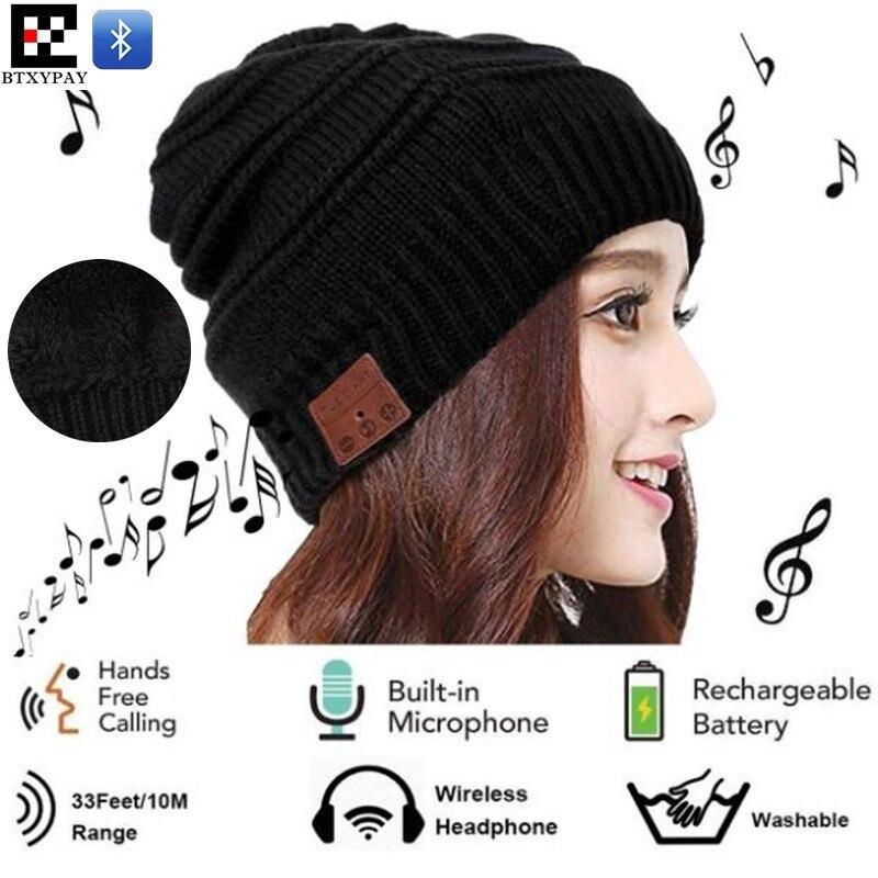 200p Winter Elastic Wireless Beanie Plus Velvet Knitted Hat Hand-free Headset Speaker Mic Stereo Magic Music Smart Bluetooth Cap
