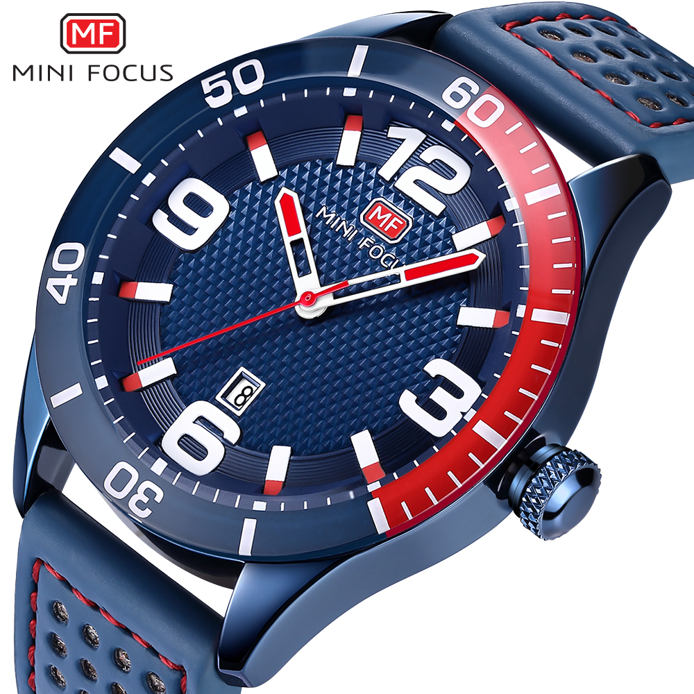 MINI FOCUS Top Brand Luxury Men Military Sports Watches Men's Quartz Analog Date Clock Male Leather Strap Army Wrist Watch Blue super speed v0169 fashionable silicone band men s quartz analog wrist watch blue 1 x lr626