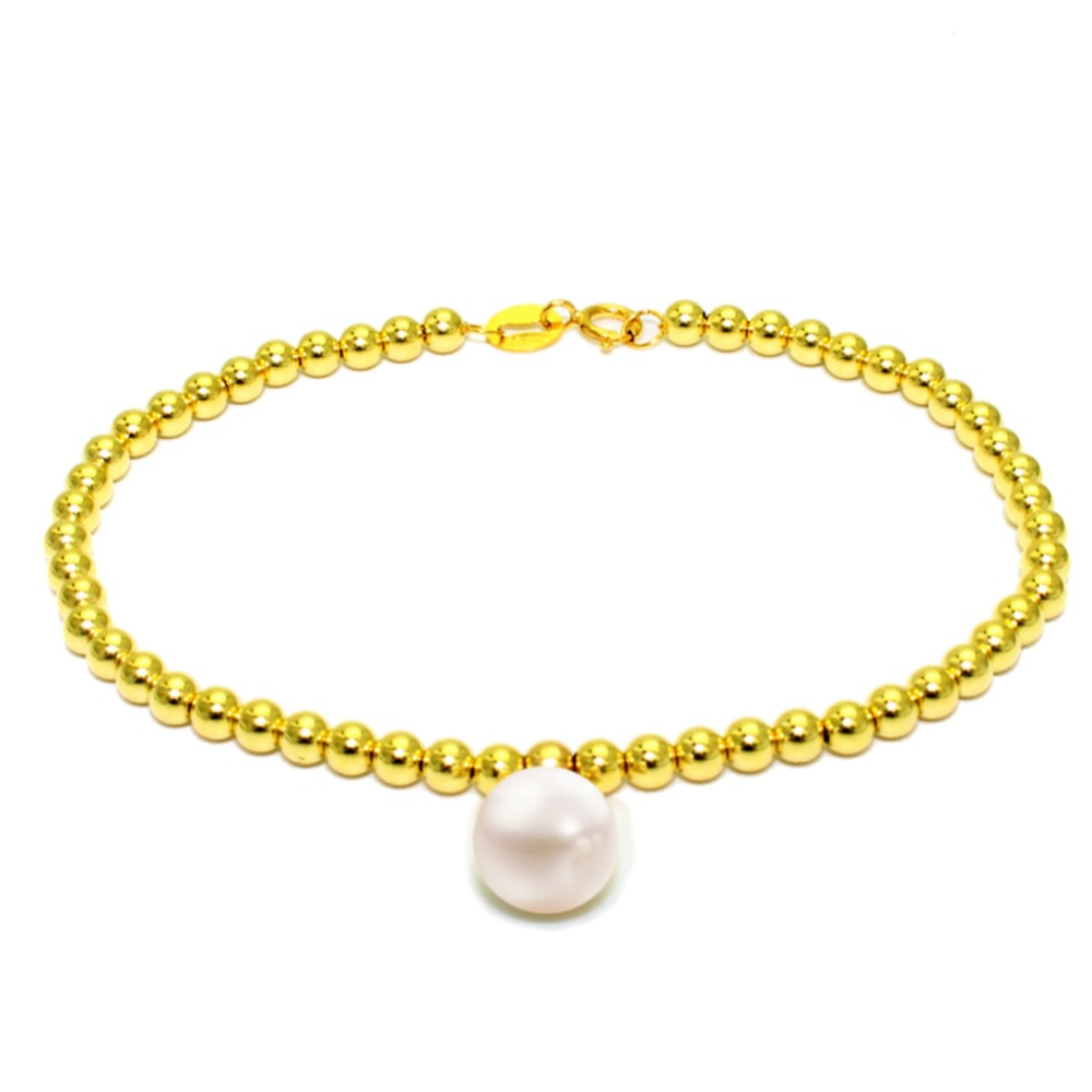 18k Au750 gold beads strand tifany design bracelet with 8-9mm perfect round natural pearl charm for women ladies girls lover real diamond princess pendant 8 5 10 5mm natrual round pearl charm necklace in 18k au750 gold with 45cm chains for women ladies