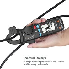 Digital Clamp Meter 6000 Counts Auto Range True RMS Mini Multimeter Thermometer Resistance Capacitance Continuity NCV Tester