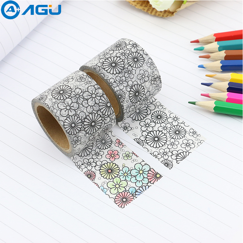 AAGU 1PC Wide DIY Coloring Washi Tape Japanese Paper Kawaii Scotch Masking Tapes Decorative Stationery Paper Adhesive Tapes