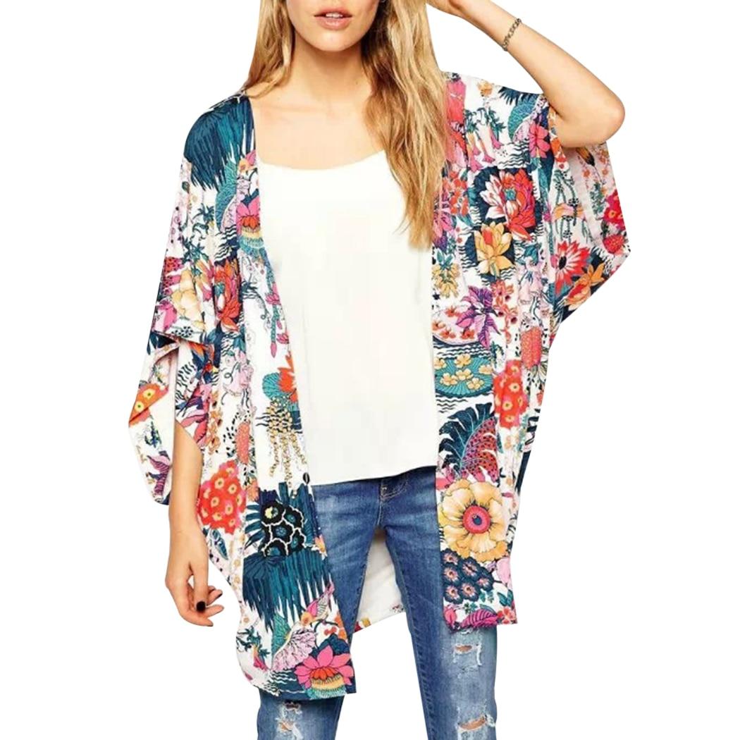 2018 Summer Women Chiffon Kimono Cardigan Floral Print Bat Sleeve Blouse Wrap Boho Beach Long Tops Loose Ladies Shirt Tee Blusa