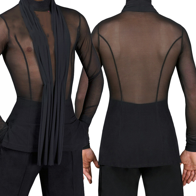 2018 Latin Dance Shirts Mens Ballroom Dancing Wear Adult Standard Tops Performance Competition Clothing Customize Clothes DN1323