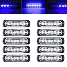 цена на 10PCS 6 LED Car Truck Beacon Warning Hazard Flash Strobe Light Bar Fog Light