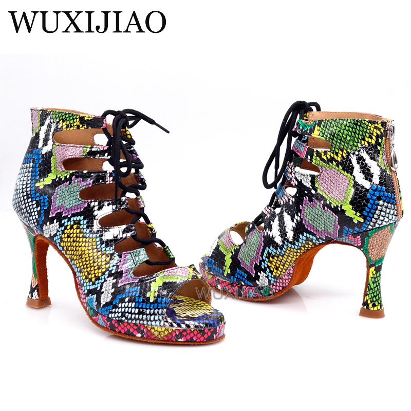 WUXIJIAO Dance Shoes For Women Latin Dance Shoes Trend Snake Texture Salsa Dance Shoes HEEL5CM-10CM