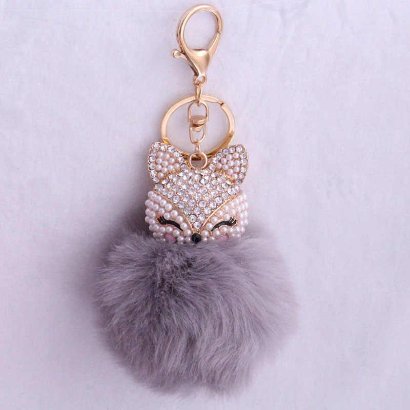 Linda cristal fox rabbit fur mulheres chaveiros bugigangas suspensão em sacos cadeia chave do carro presentes de brinquedo chaveiros llaveros Strass