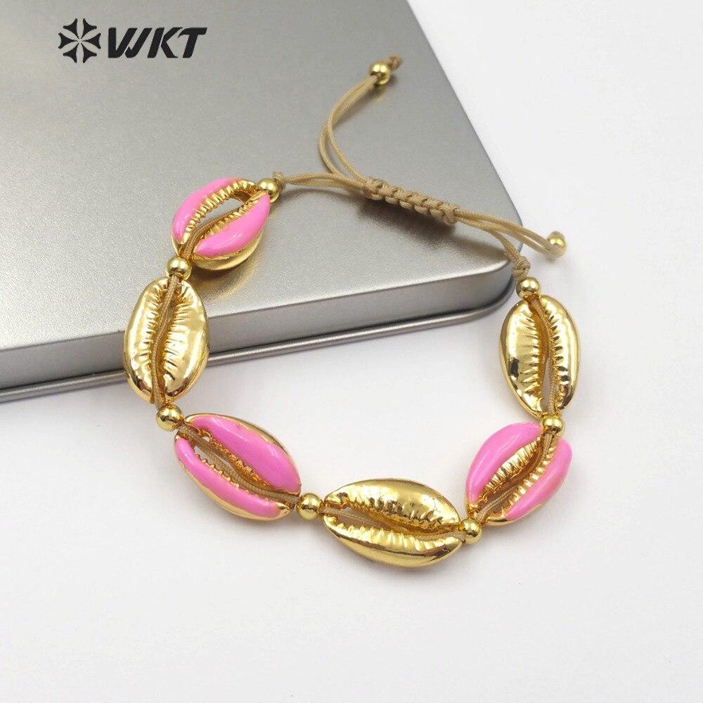 0a945ff360af WT-B456 colorido Concha en forma de pulsera de aleación de Zinc en oro rosa  azul amarillo rojo púrpura joyería de moda de las mujeres de la pulsera  hecha a ...