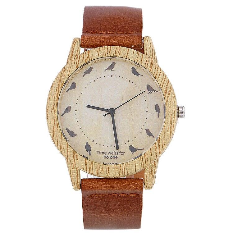 2017 Wooden Relojes Quartz Men Women Watches Casual Wooden Leather Strap Bird Watch Wood Male Wristwatch Relogio Masculino