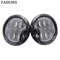 7 Inch 80W Round LED Headlights High Low Beam With Angel Eye Amber Turn Signal Light