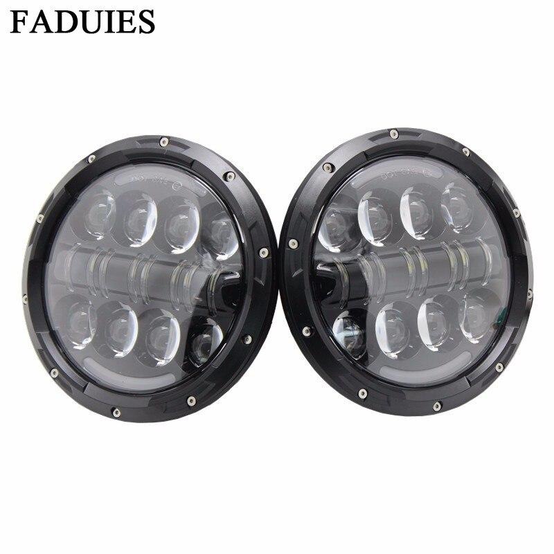 FADUIES Led Light 7 pulgadas 80W faro LED redondo con DRL High Low - Luces del coche