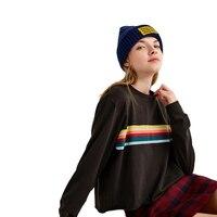 HDY T Shirt Women Long Sleeve O Neck Casual T Shirt Rainbow Printed Women Summer Shirts