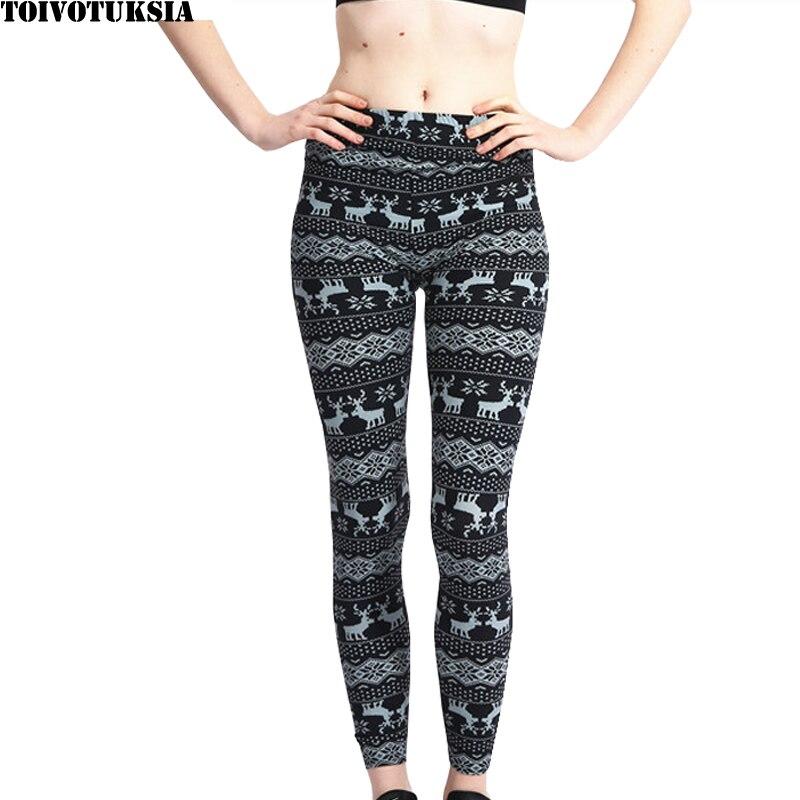TOIVOTUKSIA Brushed  Velvet Women Leggings Skinny Christmas Deer Snowflake Legging Spring Summer Slimming Stretch Pant