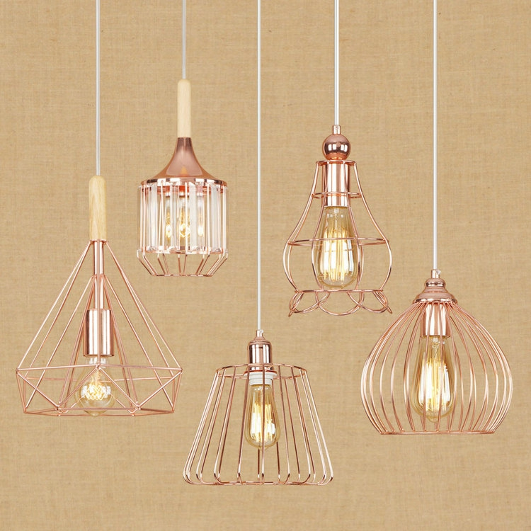 Modern Creative Retro Rose Gold Plating Wrought Iron Bird Cage with LED E27 Edison Bulb Droplight for Cafe Bar Pendant Light kung retro black white silver gold color wrought iron lampashade led pendant light decorative with e27 holder 1 2 meter cable