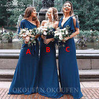 2020 Bohemia Beach Long Bridesmaid Dresses For Women Wholesale Price Blue Polyester Satin Formal Dress Party Wedding Gowns