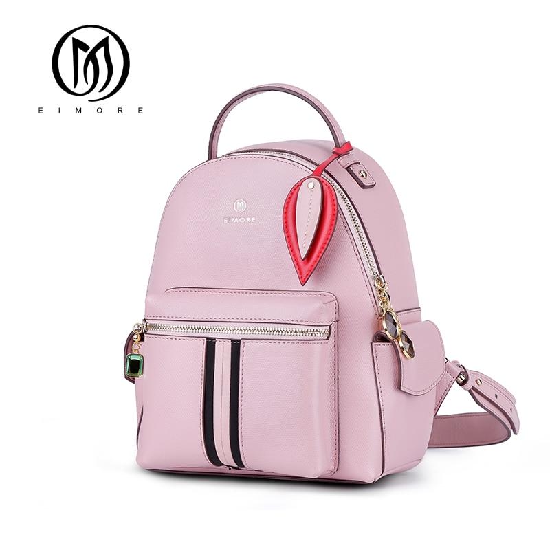 EIMORE New Women Backpack Genuine Leather Shoulder bags Women Casual Backpacks High Quality Teenagers Backpack Mochila Feminina-in Backpacks from Luggage & Bags    1