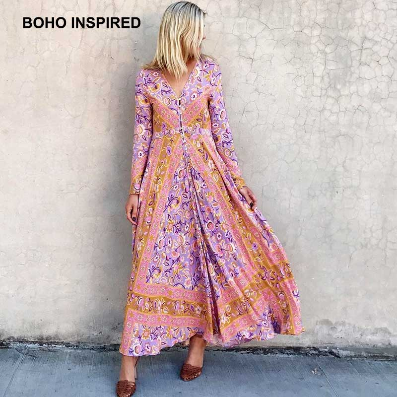 2f9dece7e1433 US $41.99 40% OFF|Boho Inspired maxi dress floral print long sleeves  buttons V neck bohemian lolita autumn dresses women plus size vestidos  2017-in ...