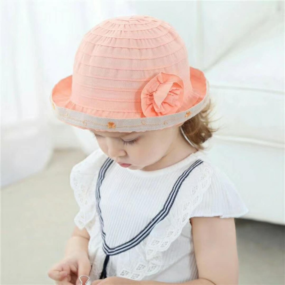 Spring Summer Girls Hats Baby Cap Kids Outdoor Hats Solid Floral Strip Baby Girl Beanie Baby Hat Wearing Accessories