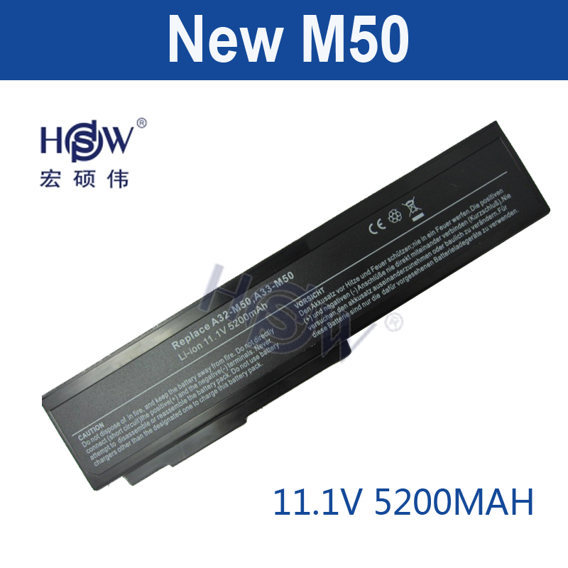 HSW 5200mah Laptop Battery for Asus N53S N53SV A32-M50 A32-N61 A32-X64 N53 A32 M50s A33-M50 N61 N61J N61D N61V N61VG N61JA N61JV