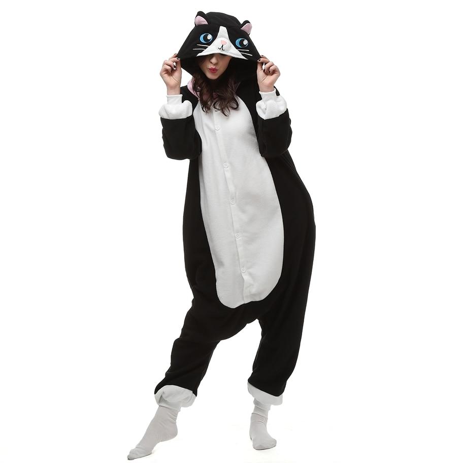 Polar Fleece Kigurumi Schwarze Katze Cosplay Onesie Pyjama Halloween ...