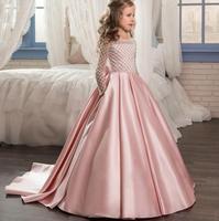 Ilk communion elbise kızlar için Prenses Düğün Doğum Günü Parti Saten organze uzun Firar Elbise Için 4 6 8 10 12 13 14 yıl