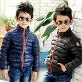 2016 de inverno das crianças roupas meninos casacos magro sólidos gola de algodão acolchoado casacos para meninos crianças zipper casaco outerwear