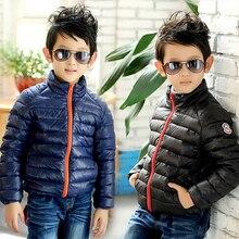 2017 зима детская одежда мальчиков куртки тонкий твердые хлопок стенд воротник пуховики для мальчиков дети молния верхней одежды пальто