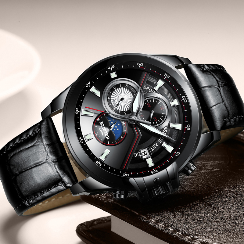 سويسرا بينغر ووتش الرجال الفاخرة العلامة التجارية الرجال الساعات الياقوت مضيئة الساعات الذكور للماء الميكانيكية المعصم B1189 3-في الساعات الميكانيكية من ساعات اليد على  مجموعة 2
