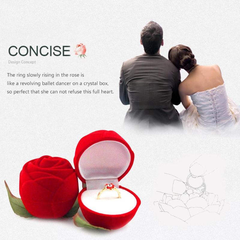 1pc Romantic Rose Gift Flower Flocking Ring Box Holder Wedding Propose Engagement Valentine Day Gift Packing Jewelry Case