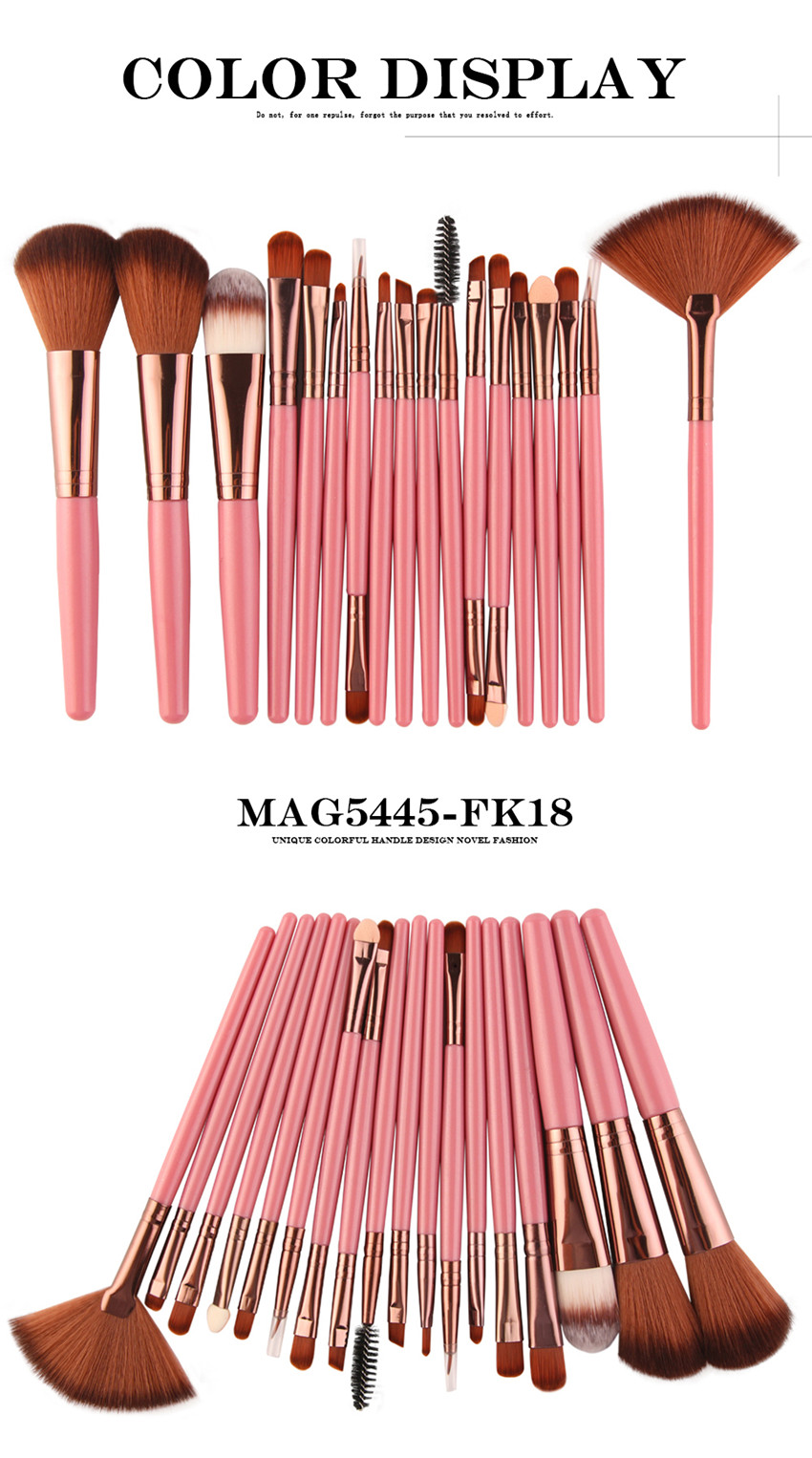 18Pcs/lot Brand Brushes Makeup Brush Set maquiagem Cosmetics Power Foundation Blush Eye Shadow Blending Fan Make Up Kits Beauty 7