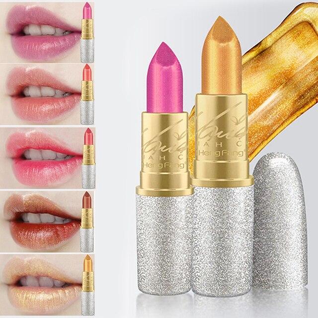 Nuevo Hengfang brillo labios Color cosméticos impermeable maquillaje pigmento Rosa desnudo de larga duración oro brillo 6 colores