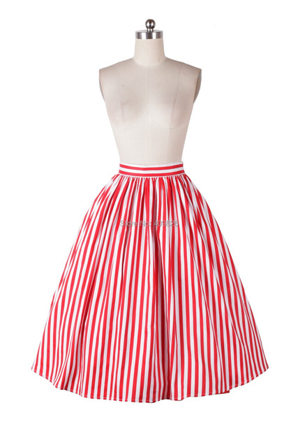 50s Vintage 2015 Spring Country Style Sweet Red and White Striped High Waist Midi Skater Skirt Ball Gown Jive Swing Sun Skirt