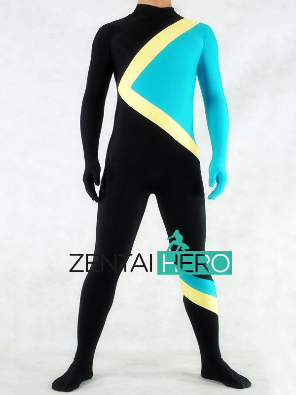 Free Shipping DHL Cool Runnings Jamaican Bobsled Team Halloween Costumes Lycra Zentai Spandex Catsuit Blue/Yellow/Black PS078