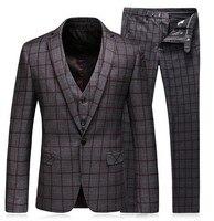 Для мужчин s Slim Fit костюмы (куртка + жилет + брюки для девочек) комплект Последние Новый жакет брюки конструкции сплошной цвет костюмы сини